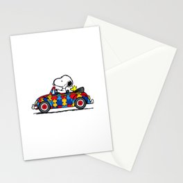 Snoopy drives a car Stationery Cards