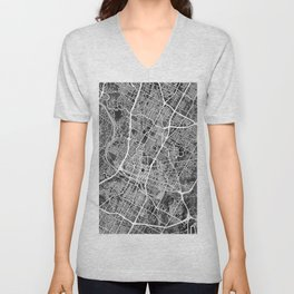 Austin Texas City Map Unisex V-Neck