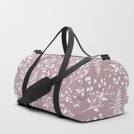 Modern mauve pink white hand painted floral Duffle Bag