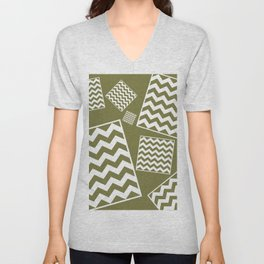 Khaki Chevron Pattern Unisex V-Neck