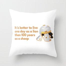 Roman Helmet with Proverb Throw Pillow