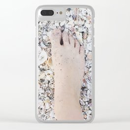 Foot on shell beach Clear iPhone Case