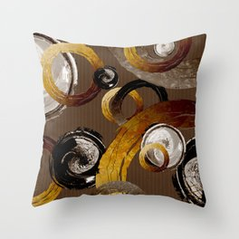 Big Dark Brass Yellow and Brown Rings and Circles Throw Pillow