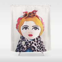 rockabilly Shower Curtains featuring Rockabilly Girl by A Little Vintage
