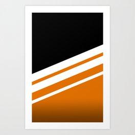 Black Striped Orange Art Print