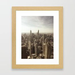 Chicago Buildings Sears Tower Sky Sun Color Photo Framed Art Print
