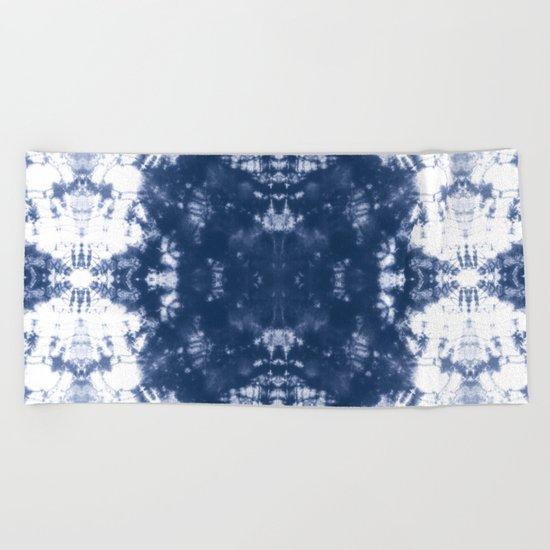 Shibori Tie Dye 2 Indigo Blue Beach Towel