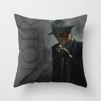 noir Throw Pillows featuring Noir by Abel Fdez