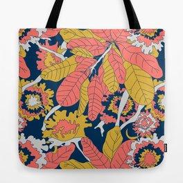 Limited Color Palette Bold Jungle Leaf Floral Tote Bag