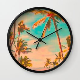 Vintage Hawaiian Beach, Mauna Lani Bay Teal Wall Clock