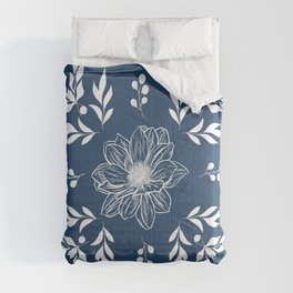 Navy and White Dhalia Flower Comforters