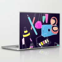 makeup Laptop & iPad Skins featuring Retro Makeup by minniemorrisart