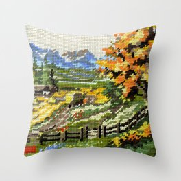 Found Tapestry Landscape Throw Pillow