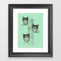 Owls (green) Framed Art Print
