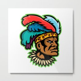 Zulu Warrior Head Mascot Metal Print