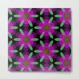 Abstract Spawning Green Fish Geometric Pattern Metal Print