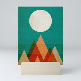 Full moon over Sahara desert Mini Art Print