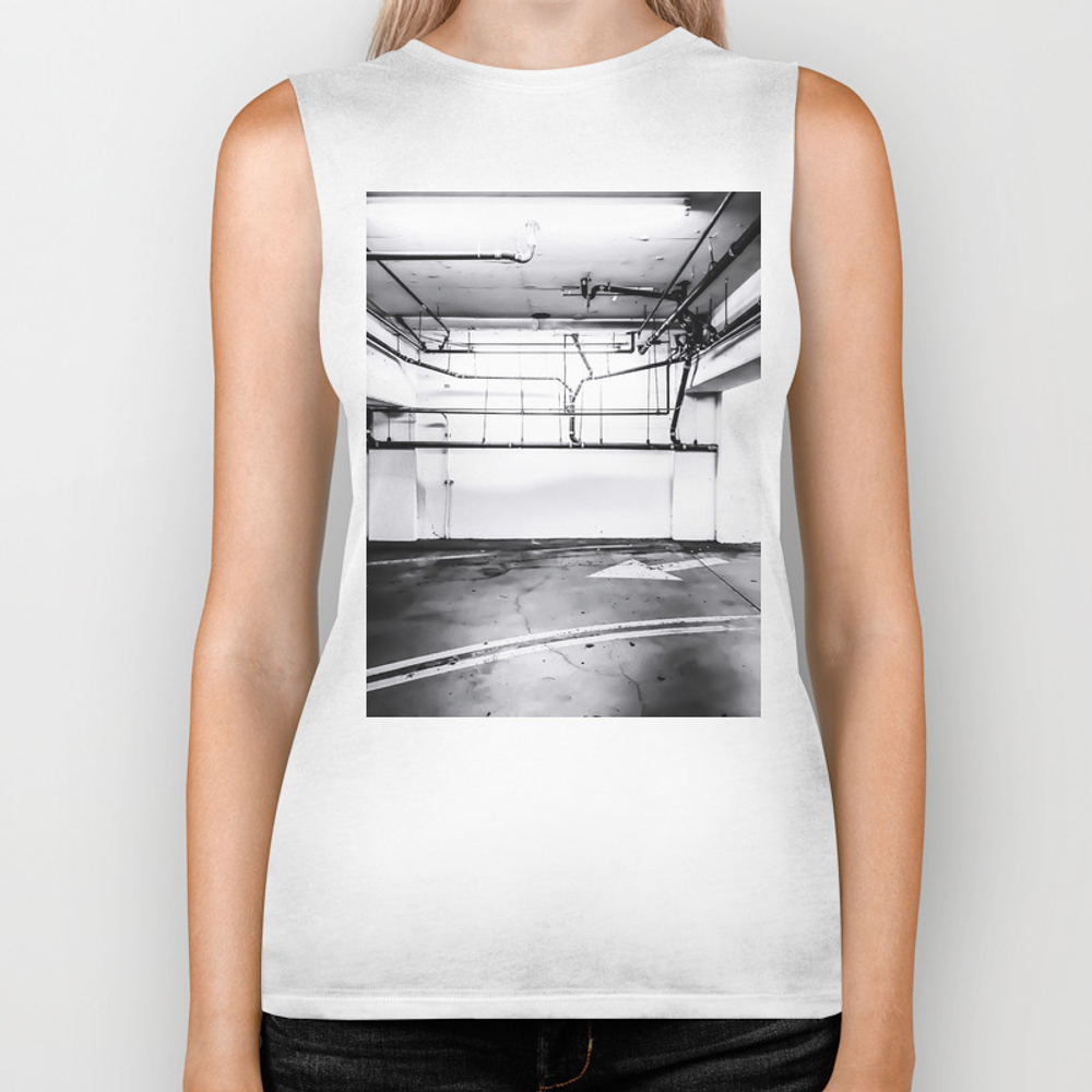 Underground Parking Lot With Tube In Black And Whi… Biker Tank by Timla BKT7645448