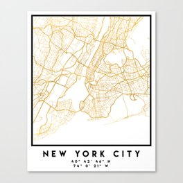NEW YORK CITY NEW YORK CITY STREET MAP ART Canvas Print