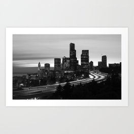 Seattle Skyline Sunset City - Black and White Art Print