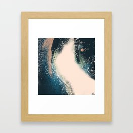 Expanse: a bold, abstract mixed media piece in blues, green, and peach Framed Art Print