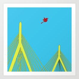 Zakim Bunker Hill Memorial Bridge Boston City Art Print