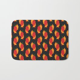 Red chili peppers and fire Bath Mat