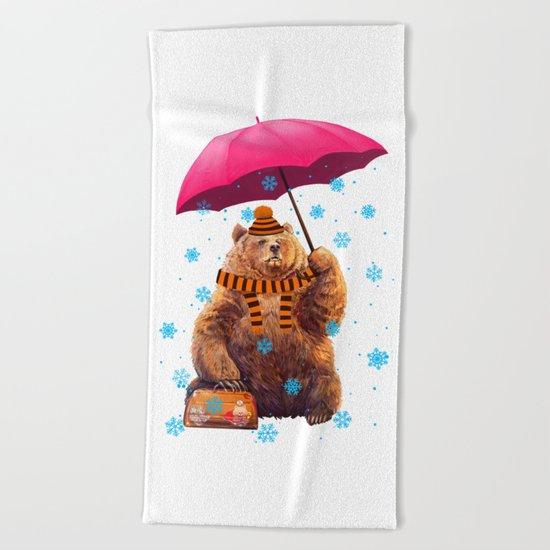 Winter bear Beach Towel
