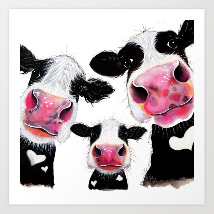 CoW PRiNT ANiMaL PRiNT ' THe NoSeY FaMiLY ' BY SHiRLeY MacARTHuR Kunstdrucke