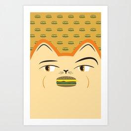 Cheeseburger Cat Art Print