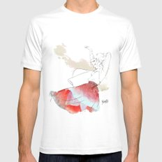 Dancing in the poppies MEDIUM White Mens Fitted Tee