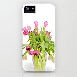 Tulips bouquet in vase isolated on white background iPhone Case