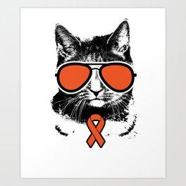 Vintage Orange Ribbon Awareness Cat Art Print