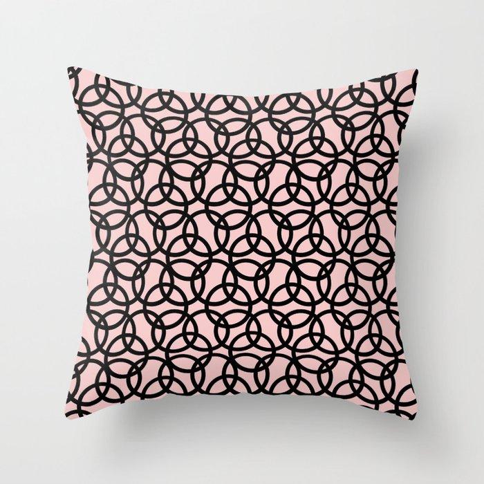 Olympica Black on Blush Throw Pillow