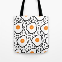 eggs Tote Bags featuring Eggs by Bouffants and Broken Hearts