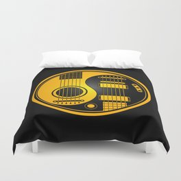 Yellow and Black Acoustic Electric Yin Yang Guitars Duvet Cover