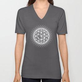 White Flower of Life Sun Sacred Geometry Unisex V-Neck