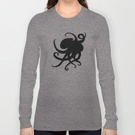 """Octopus Silhouette"" digital illustration by Amber Marine, (Copyright 2015) Long Sleeve T-shirt"