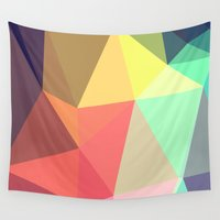 shapes Wall Tapestries featuring peace by contemporary