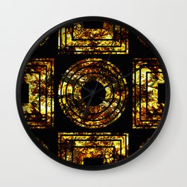 Golden Shapes - Abstract, black and gold, geometric, metallic textured artwork Wall Clock