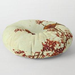 Winter birds bullfinch eat rowan berries Floor Pillow