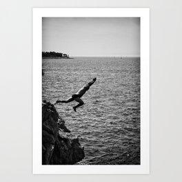 Man Jumping Off The Clif Art Print