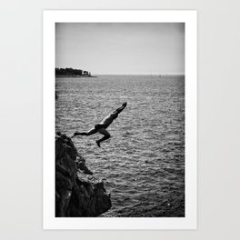 Man Jumping Off The Clif Art Print