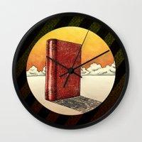 literature Wall Clocks featuring Literature Heavy book by gunberk