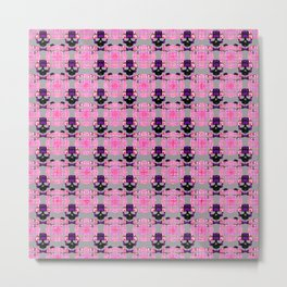 Raceway Plaid Skull and XBones: Pink, Grey, Purple Metal Print