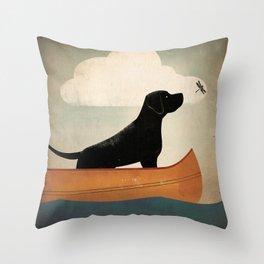 Black Lab Labrador Retriever Dog Canoe Ride Throw Pillow