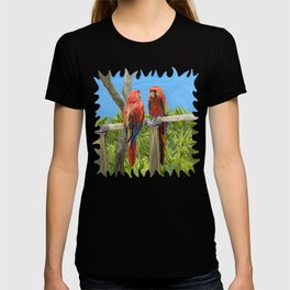 Scarlet Macaw Parrots Perching T-shirt