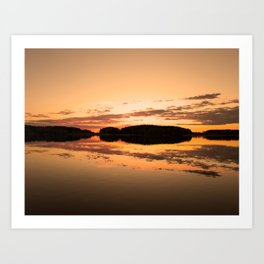 Beautiful sunset - glowing orange - forest silhouette and reflection Art Print
