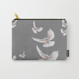 WHITE PEACE DOVES ON GREY COLOR DESIGN ART Carry-All Pouch