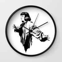 mia wallace Wall Clocks featuring Mia Wallace by El Kane